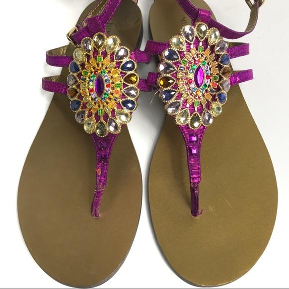 4783a92fe3db1b Nine West Flybuy Jeweled Rhinestone Thong Sandals